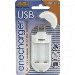 2 cell charger 1-2 AA or AAA NiCd/NiMH cells. Input via USB.