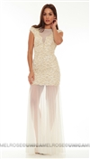 Baccio Couture Ivory Hand Painted Long Dress