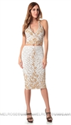 Baccio Couture White & Gold Sussy Skirt & Top Combo