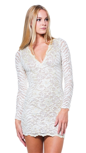 Baccio Couture Kamila Painted Lace with Crystal Long Sleeve V-Neck Short Dress