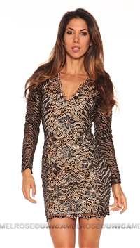 Baccio Couture Black Long Sleeve Mini Dress With Hand Paint Detail