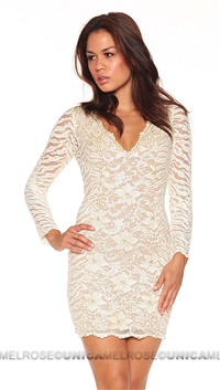 Baccio Couture Ivory Long Sleeve Mini Dress With Hand Paint Detail