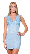 Baccio Couture Baby Blue Eli Hand Painted Mini Dress