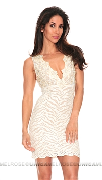 Baccio Couture Eli Painted Ivory Lace with Crystal Sleeveless Short Dress