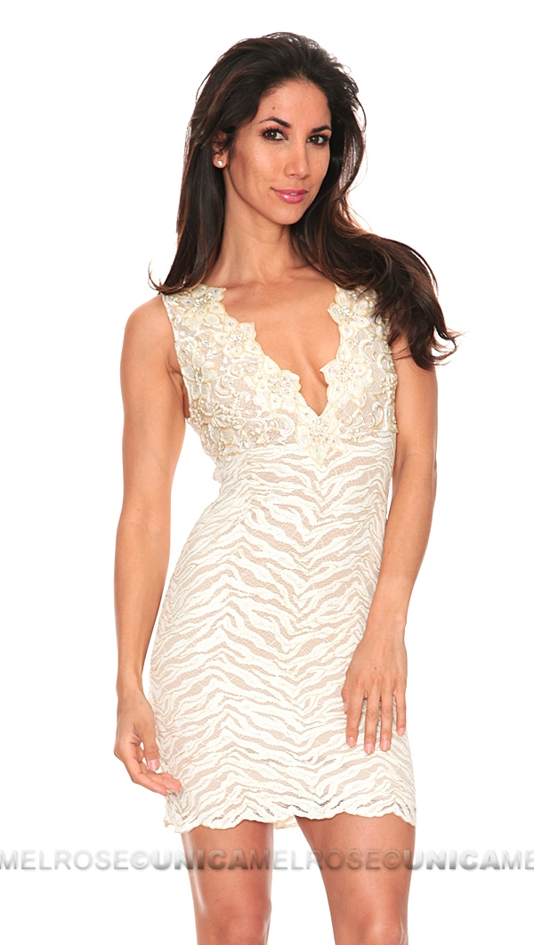 Baccio Couture Eli Painted Ivory Lace with Crystal Sleeveless ...