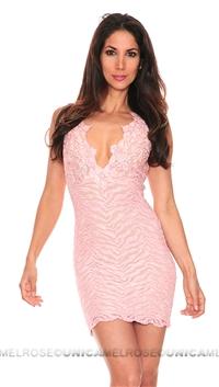 Baccio Couture Eli Painted Light Pink Lace with Crystal Sleeveless Short Dress