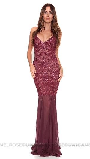 Baccio Couture Burgundy Mady Painted Long Dress