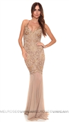 Baccio Couture Gold Nude Mady Painted Long Dress