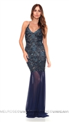 Baccio Couture Blue Mady Painted Long Dress