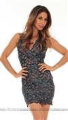 Baccio Couture Navy Hand Painted Short Dress