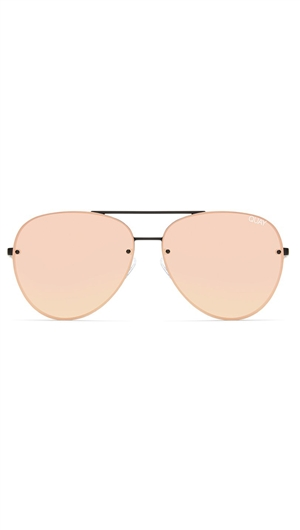 Quay 'Cool Innit' Black/Pink Mirror Lens Sunglasses