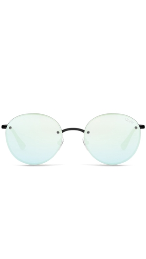 "Quay Black/Mint Mirror ""Farrah"" Sunglasses"