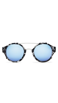 Quay 'Its a Sin' Sunglasses Black Tort / Blue Mirror