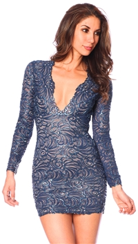 Baccio Couture Navy Molly Long Sleeve Mini Dress