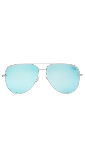 Quay Silver/Blue Lens 'High Key' Sunglasses