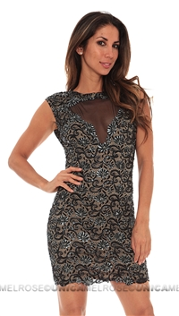 Baccio Black Nude Giselle Painted Short Dress