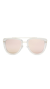 Quay 'French Kiss' Sunglasses Clear/Rose Mirror