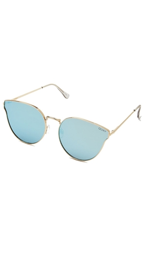 Quay 'All My Love' Gold Frame/Blue Mirror Lens Sunglasses