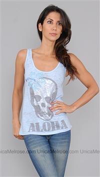 E.vil Blue Burnout Tee with Rhinestone Skull