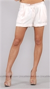 Yoyo Young White Rolva Woven Shorts