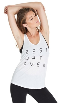 goodhYOUman Optic White 'Best Day Ever' Casey Tank Top