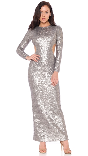 Dress The Population Platinum 'Lara' Long Sleeve Gown