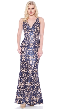 Dress The Population Navy & Nude 'Karen' Gown