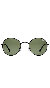 Quay 'Mod Star' Black Frame/Green Lens Sunglasses