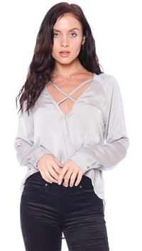 Olivaceous Heather Gray Strappy Blouse