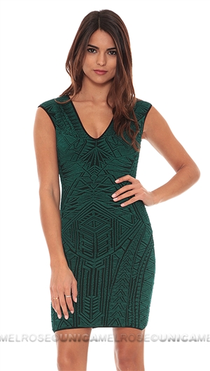 RVN Emerald Polynesia Tattoo Mini Dress