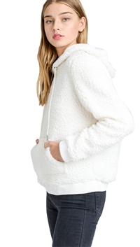 Love Tree Ivory Super Soft Sherpa Front Pocket Hoodie Pullover