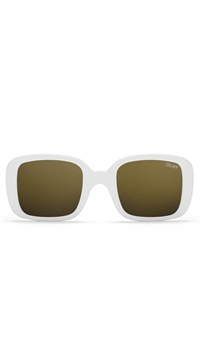Quay White Frame/Gold Mirror Lens 20's Sunglasses