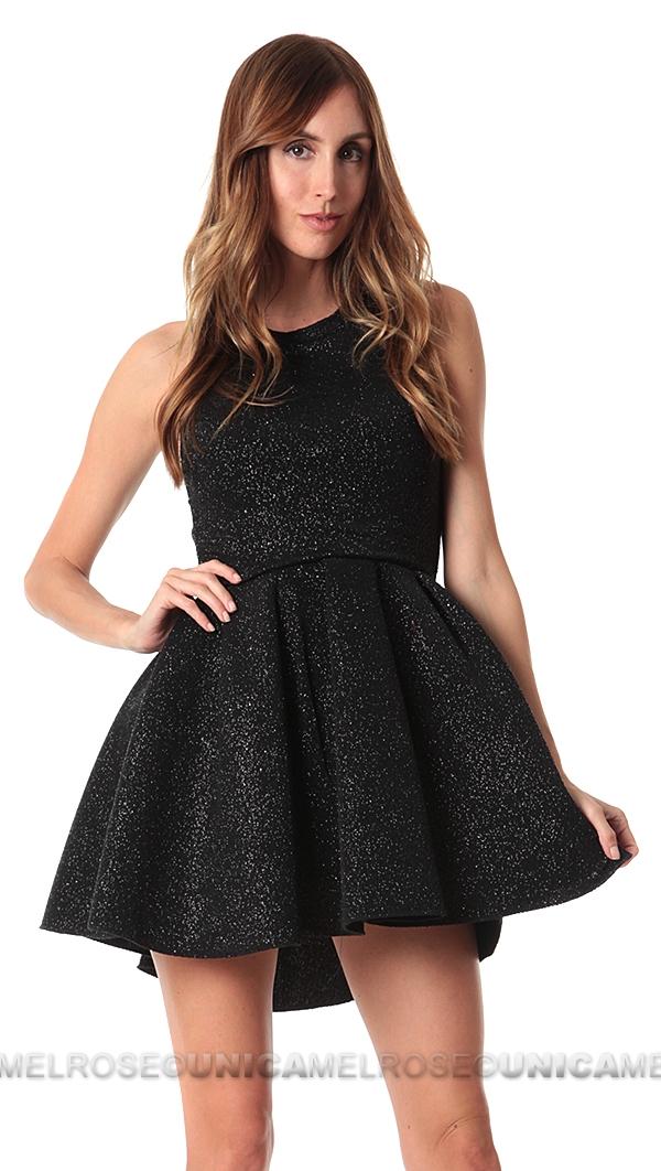 Issue New York Black Glitter Flare Mini Dress