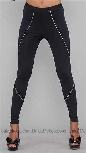 David Lerner Black Triangler Side Leggings