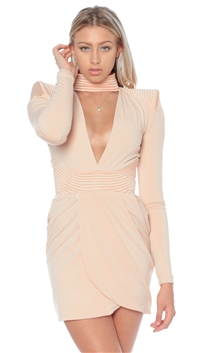 House Of Zhivago Nude 'Swallow' Mini Dress