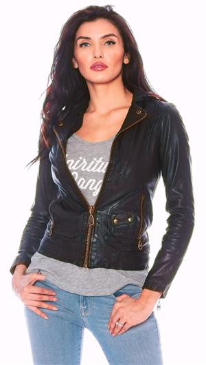 Doma Black 'Moto' Leather Jacket