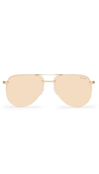 Quay Gold Frame/Pink Lens 'The Playa' Sunglasses
