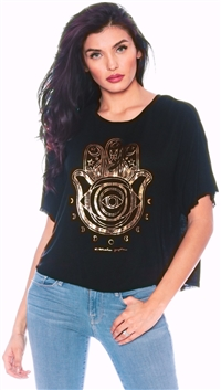 Spiritual Gangster Black 'Native Hamsa' Top