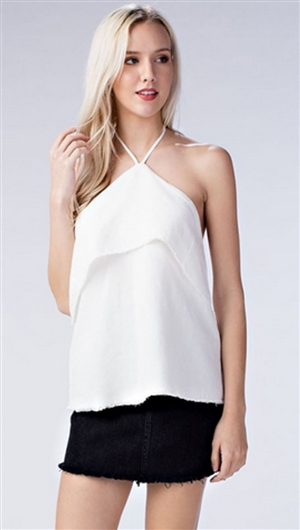 Honey Punch Ivory Ruffled Halter Top