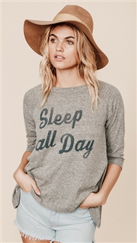 Mate Heather Gray 'Sleep All Day' Rowe Raglan 3/4 Sleeve Top