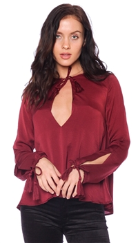 Olivaceous Wine Satin Tassel Top