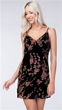 Honey Belle Black Floral Velvet Low Back Mini Dress