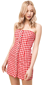 Honey Punch Strapless Gingham Buttown Down Mini Dress