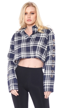Honey Punch Navy Cropped Flannel Button Up