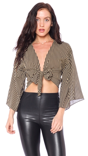 Honey Belle Black Striped Center Tie Top