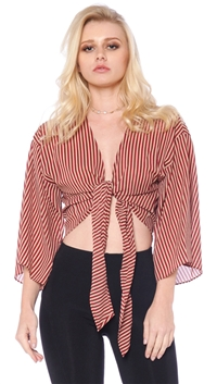 Honey Belle Wine Striped Center Tie Top