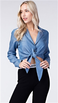 Honey Punch Light Blue Denim Blouse