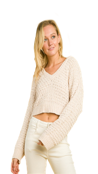 V Neck Long Sleeve Sweater by Wild Honey