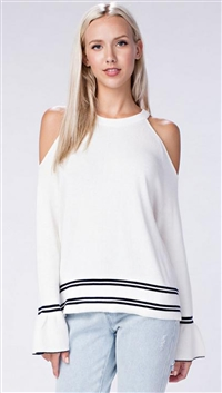 Honey Punch Ivory Cold Shoulder Long Sleeve Top