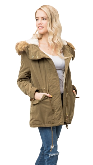 Love Tree Olive Fur Rimmed Sherpa Lined Hooded Zip Up Jacket